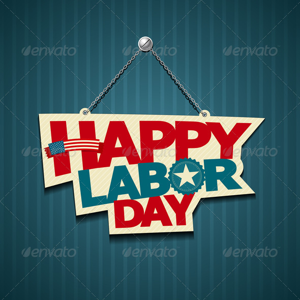Happy Labor day american, text signs
