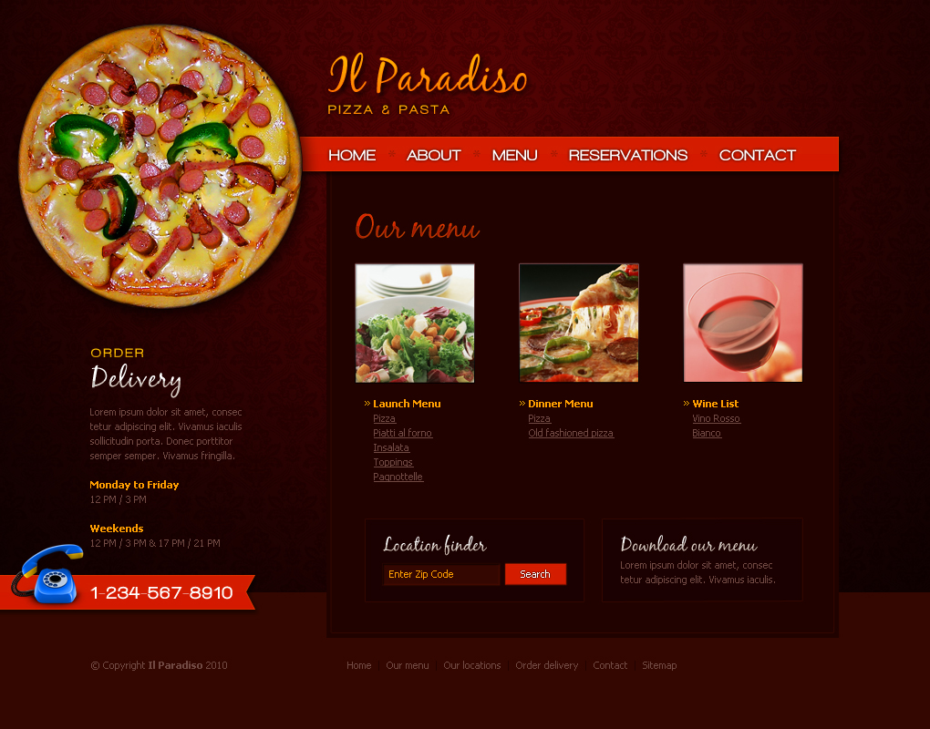 Il paradiso pizza pasta restaurant psd layout by