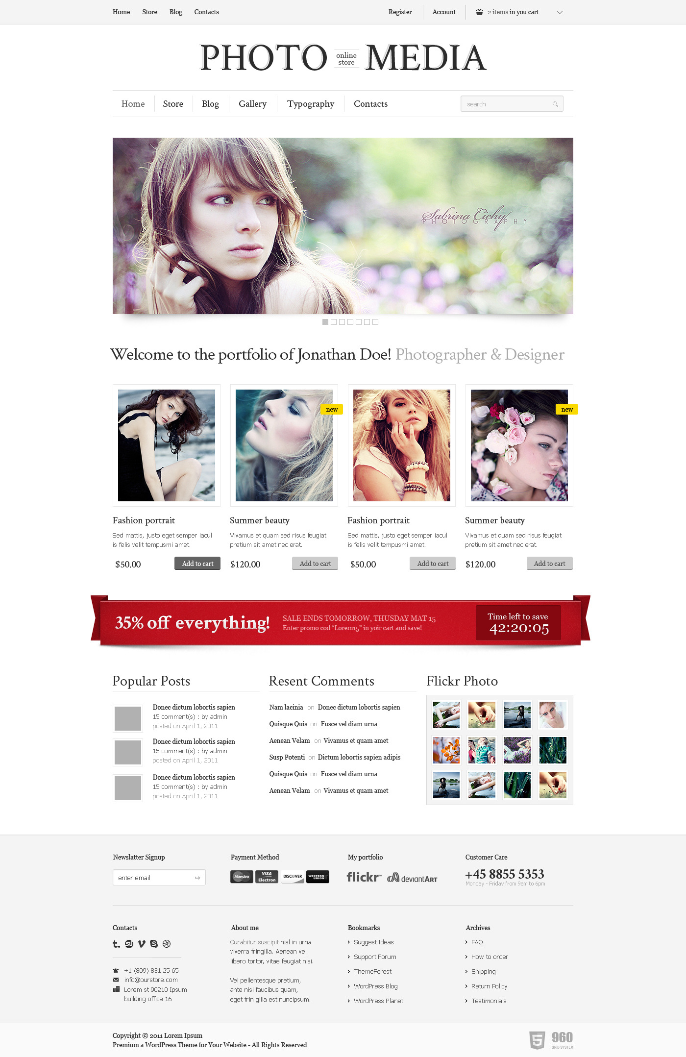 Phomedia Wordpress Theme - A WP E-Commerce theme - Home page overview