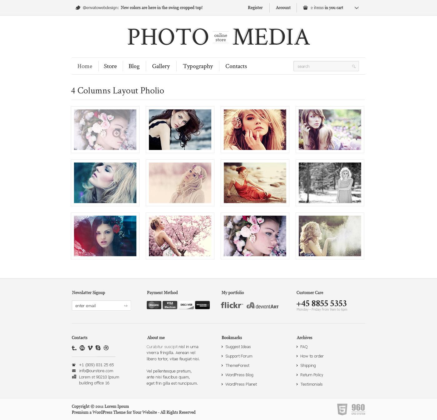 Phomedia Wordpress Theme - A WP E-Commerce theme - Portfolio page overview