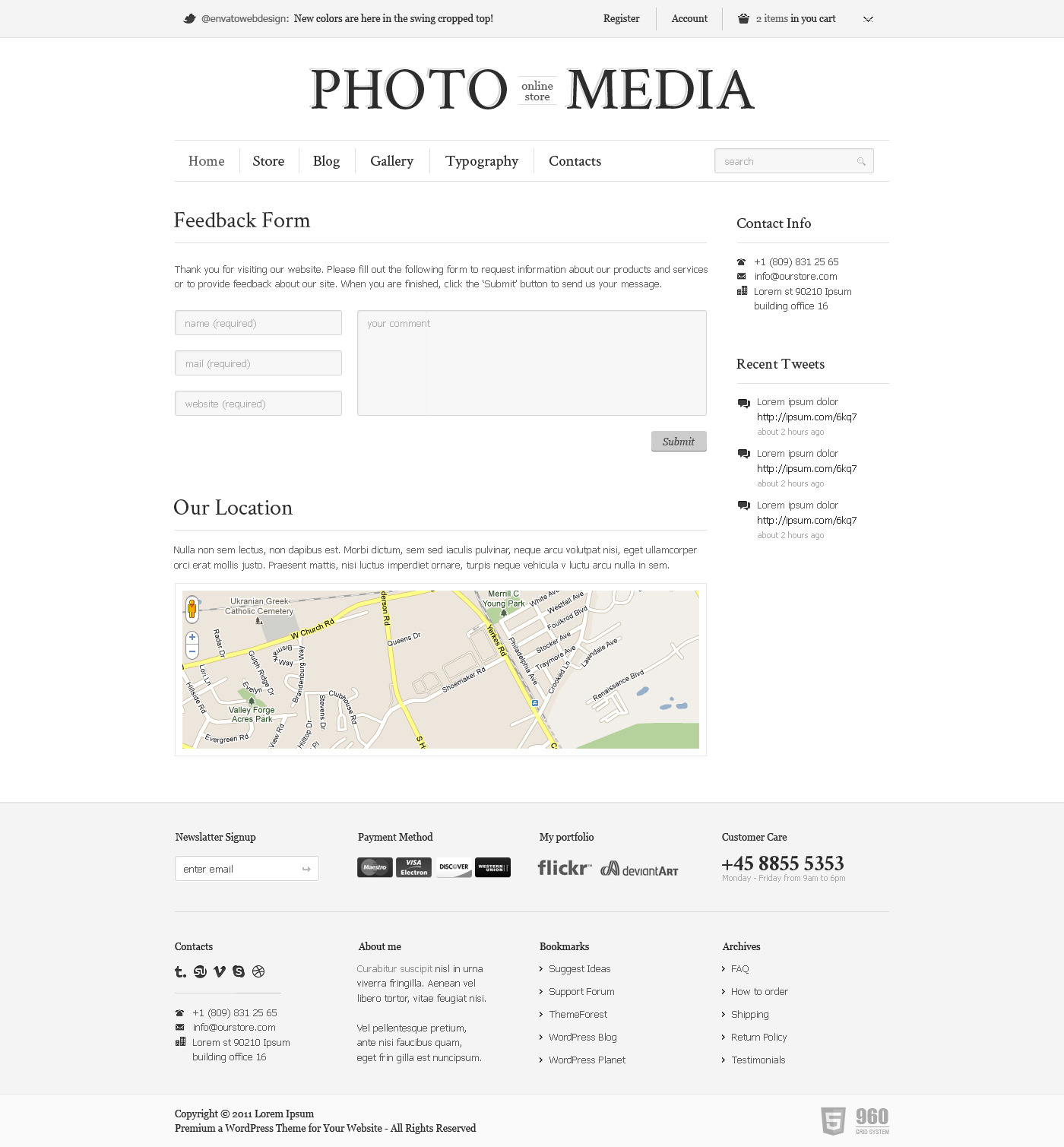Phomedia Wordpress Theme - A WP E-Commerce theme - Contacts page overview