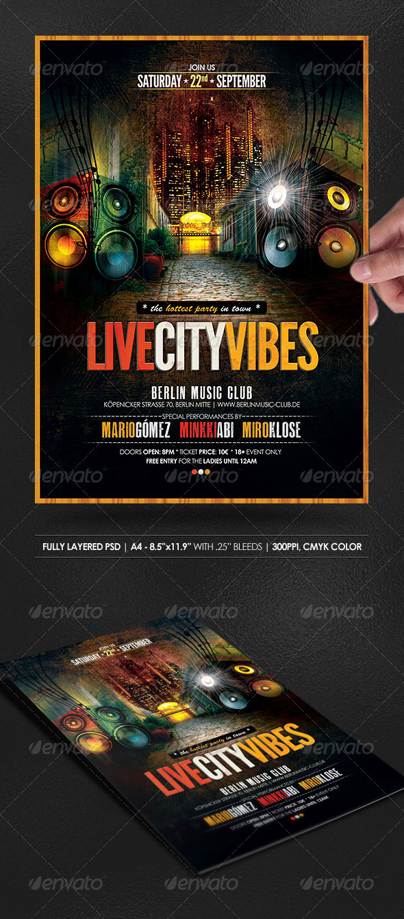 Live City Vibes Poster/Flyer - Clubs & Parties Events
