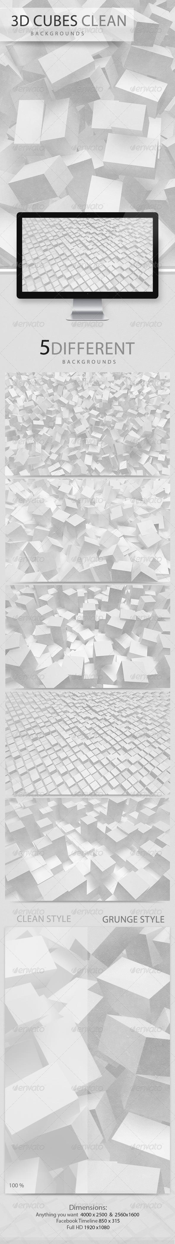 GraphicRiver 3D Cubes Clean Backgrounds 2985586