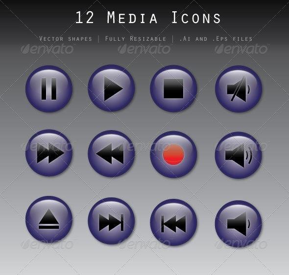 12 Media Icons - Media Icons