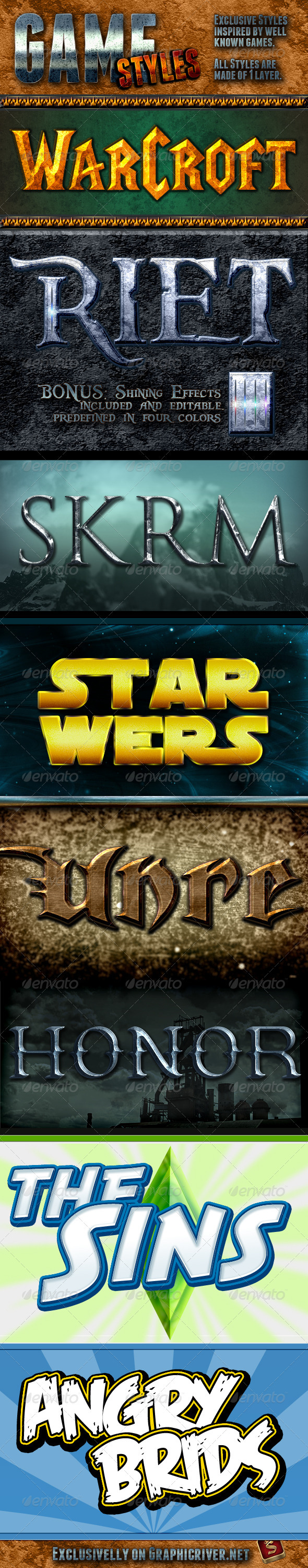 Game Photoshop Styles - Text Effects Styles