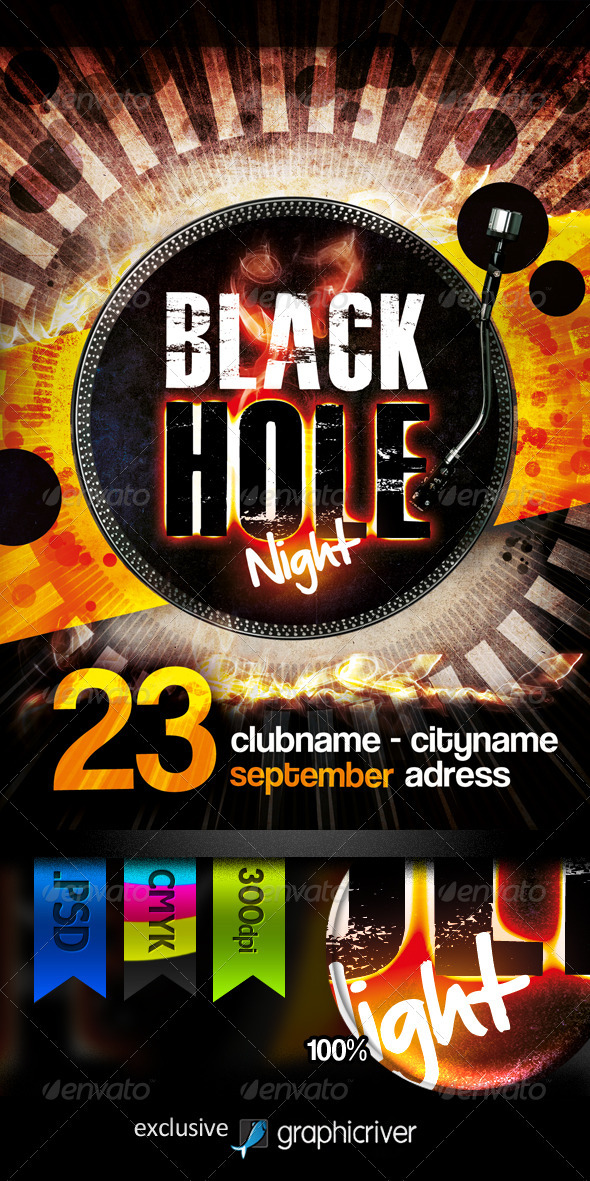Black Hole Night Flyer - Clubs & Parties Events