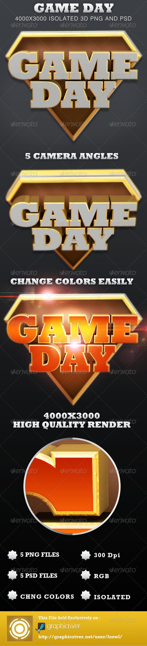 Game Day Isolated 3D Text Objects - Text 3D Renders