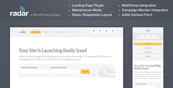 Radar Landing Page Plugin - CodeCanyon Item for Sale