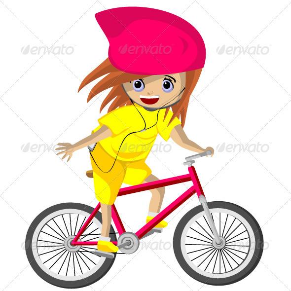 Girl cycling