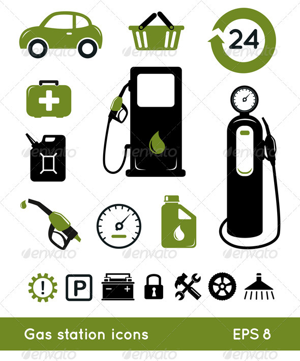 Gasoline Station Icons - Industries Business