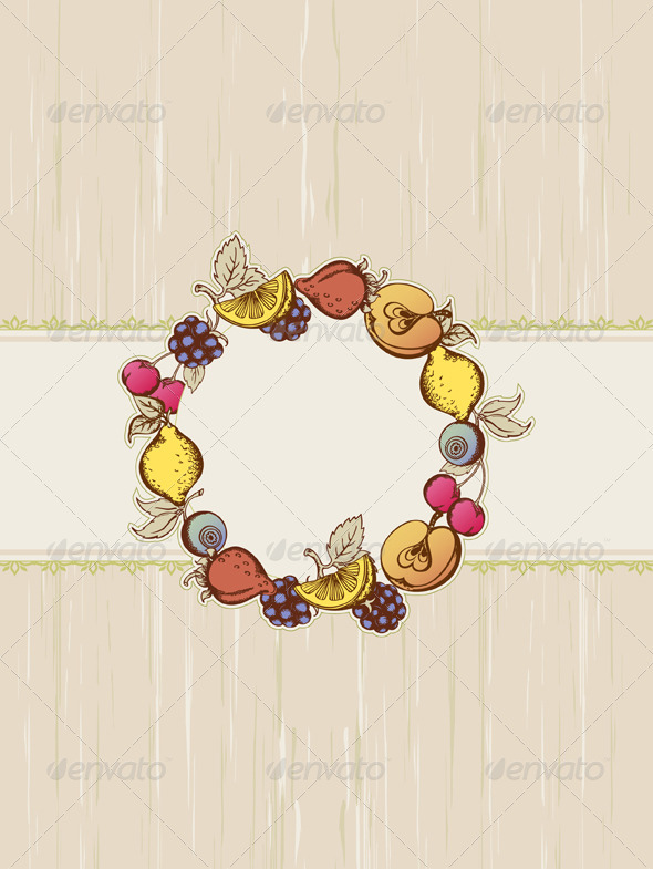 Vintage Fruit Frame - Backgrounds Decorative