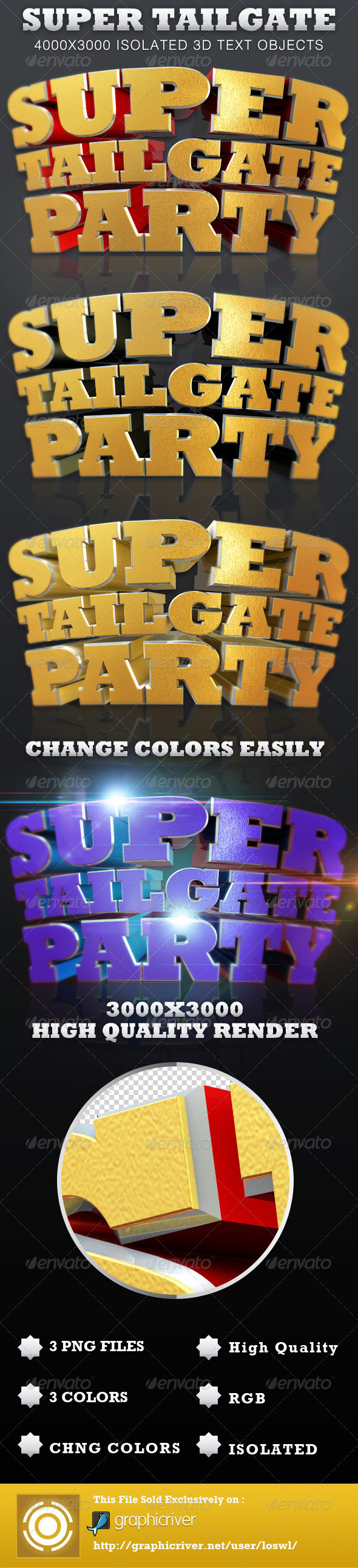 Super Tailgate Party Isolated 3D Text Objects - Text 3D Renders