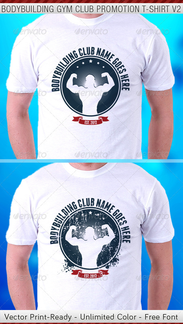 Bodybuilding Gym Club Promotion TShirt Template V2 - Sports & Teams T-Shirts