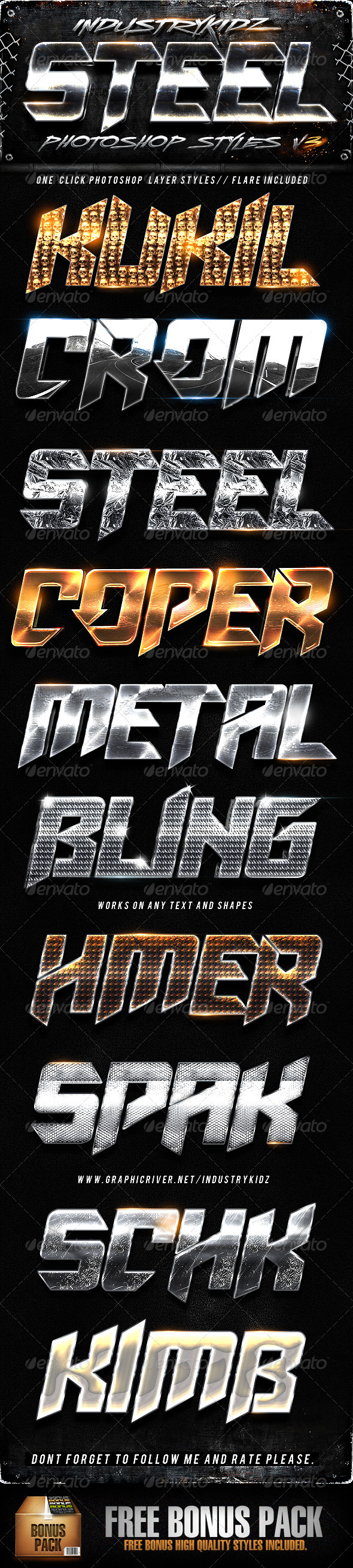 GraphicRiver Steel Photoshop Layers Styles V3 2997922