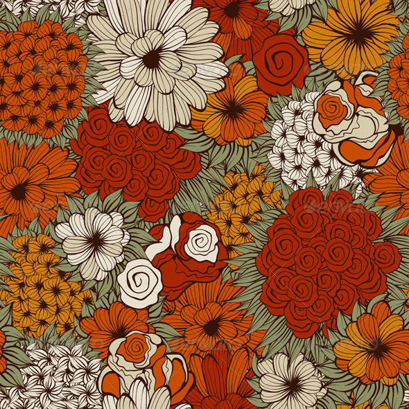 Vector Seamless Pattern with Funky Flowers | GraphicRiver