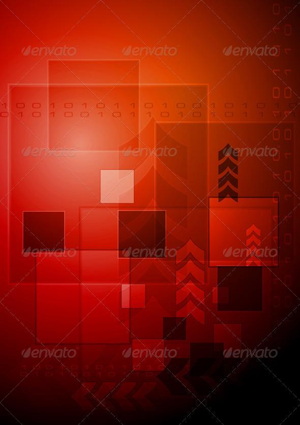 Dark red hi-tech design - Technology Conceptual