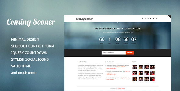 ThemeForest Coming Sooner Creative Under Construction Templa 2988648