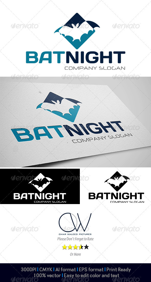 Bat Night Logo - Animals Logo Templates