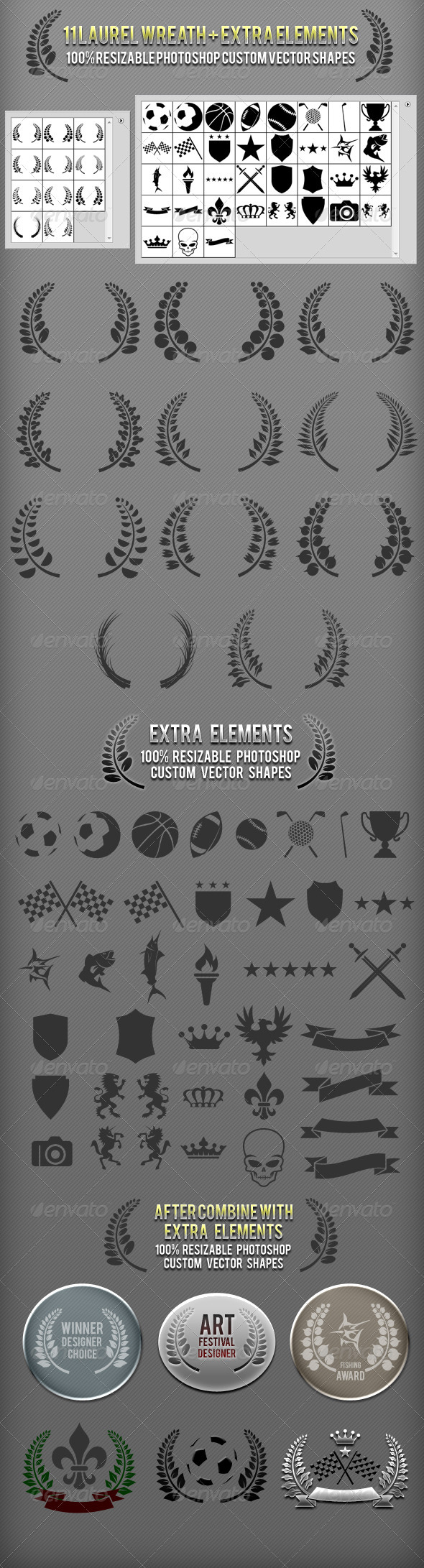 GraphicRiver Laurel Wreath Photoshop Custom Shapes 3001694