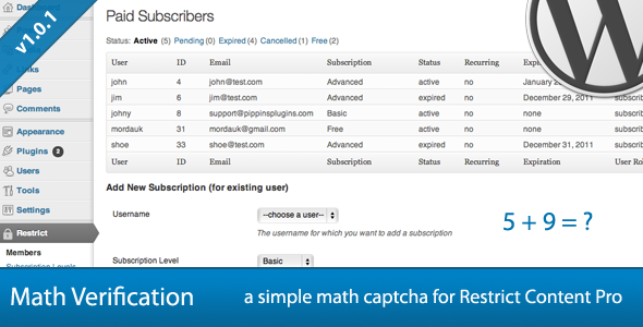 CodeCanyon Restrict Content Pro Math Verification 1876095