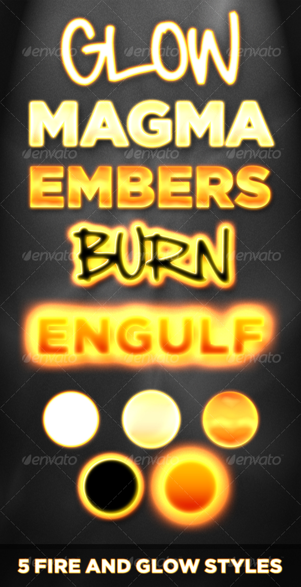 GraphicRiver 5 Fire and Glow Styles Flame Neon and Burning 106946