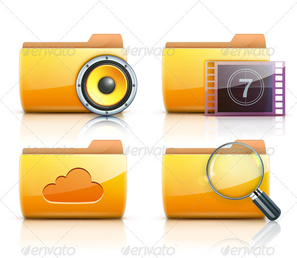 Yellow folder icons - Technology Conceptual