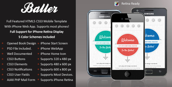Baller Mobile Retina | HTML5 & CSS3 And iWebApp