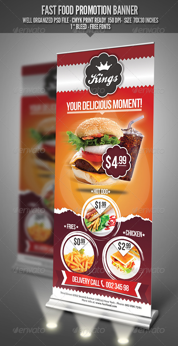 Fast Food Promotion Banner - Signage Print Templates