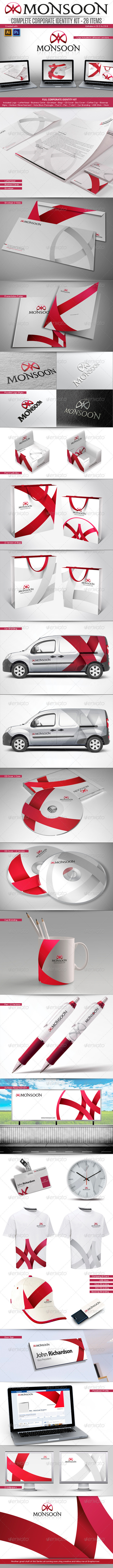 Red Modern Full Corporate Identity Template Package Kit