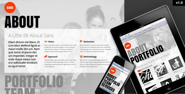 Sans - Responsive, One Page Portfolio Template