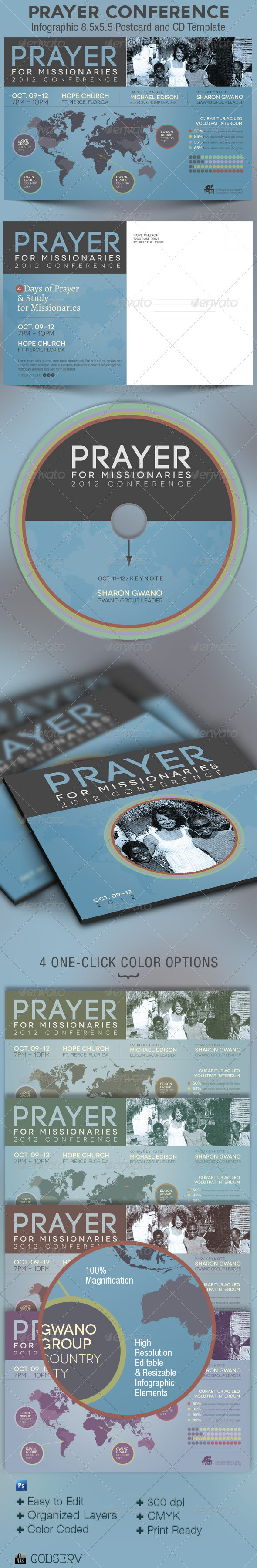 Prayer Conference Church Flyer and CD Template - Church Flyers