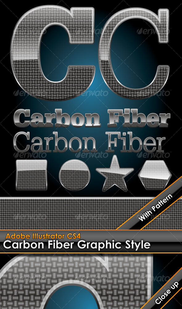 GraphicRiver Glossy Carbon Fiber Graphic Style with Pattern 95216