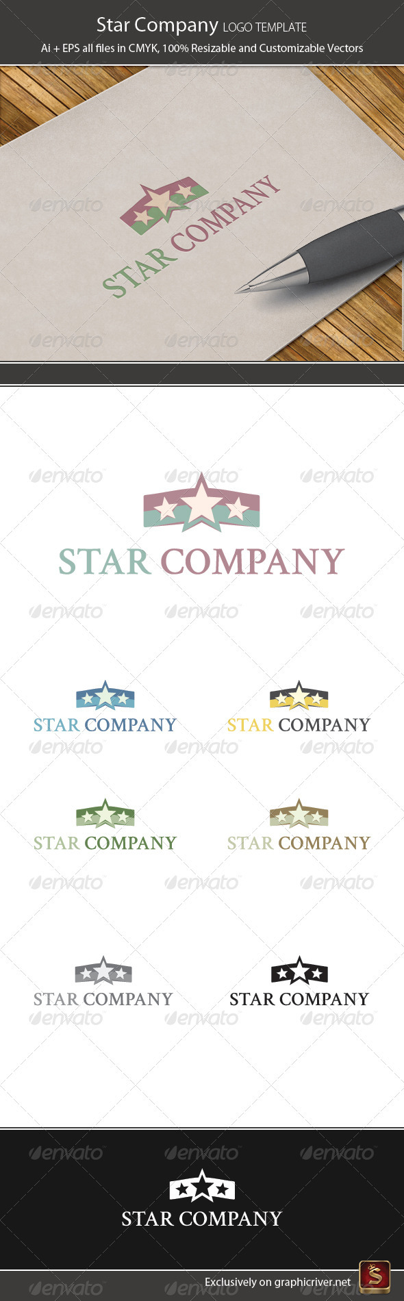 Star Company Logo Template - Vector Abstract