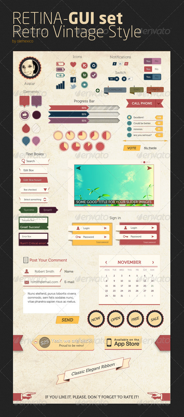 Retina - GUI set - Retro Vintage Style - User Interfaces Web Elements