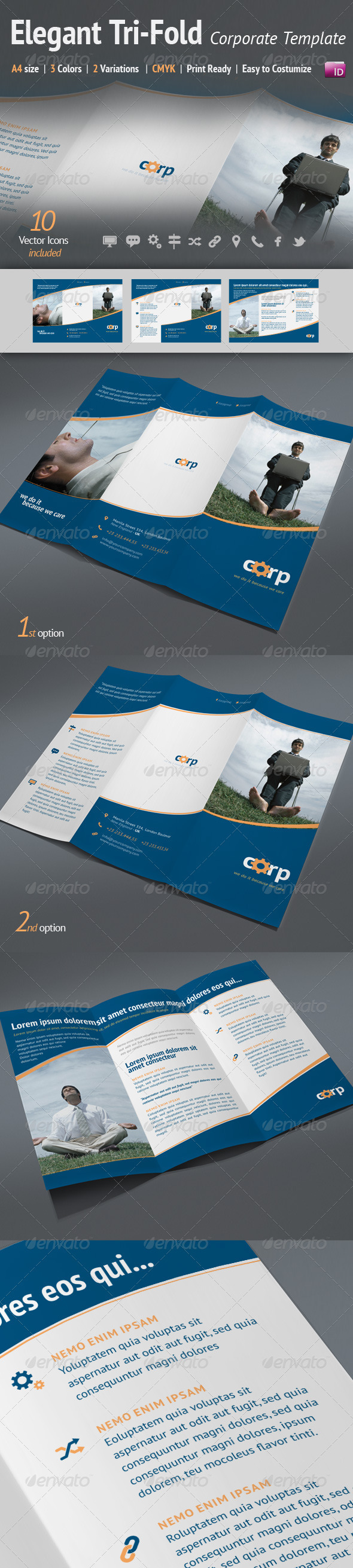 A4 Tri-Fold Elegant Corporate Template | 3 Colors - Corporate Brochures