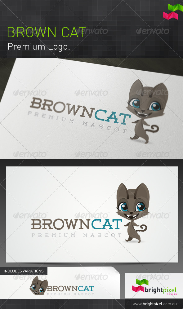 Brown Cat Mascot and Brand - Animals Logo Templates