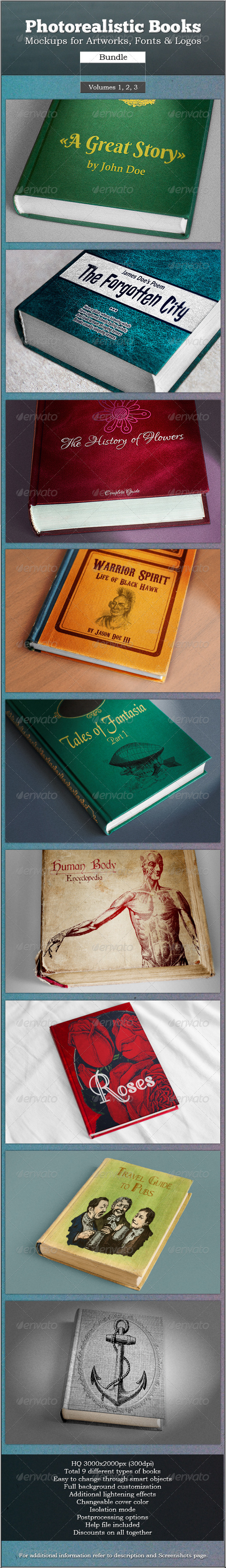 Photorealistic Books Mockups Bundle