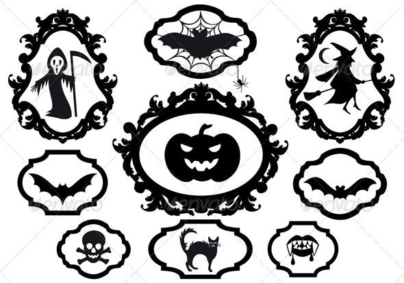 Halloween Icons In Frames, Vector