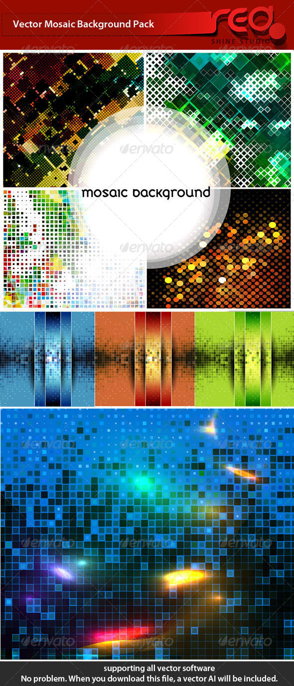 Mosaic background collection - Backgrounds Decorative