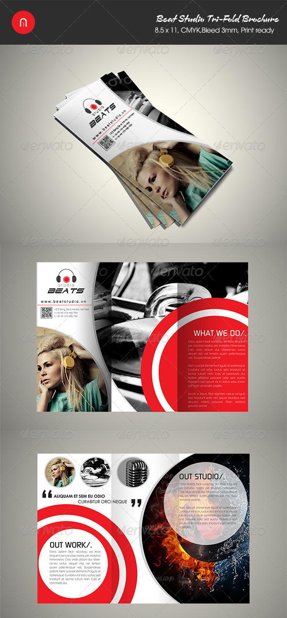 Beats Studio Tri-Bold Brochure - Brochures Print Templates