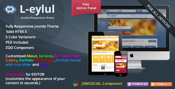 L-Eylul Responsive JomSocial Joomla Theme -