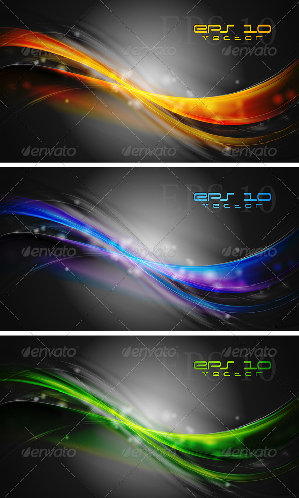 Bright waves banners. Vector design - Backgrounds Decorative