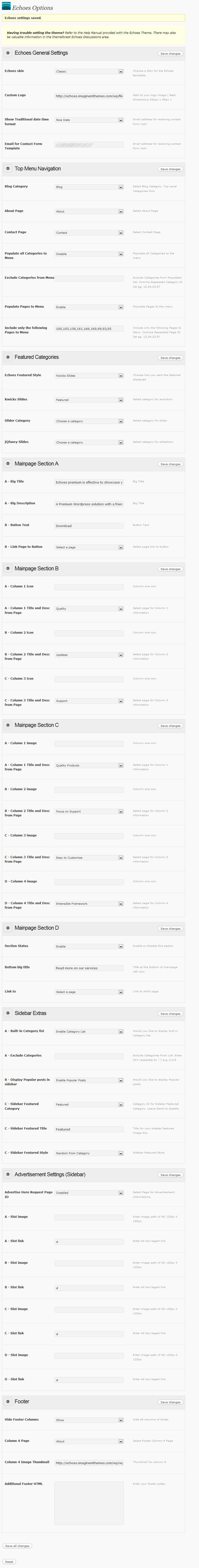Echoes Premium Wordpress 11 in 1