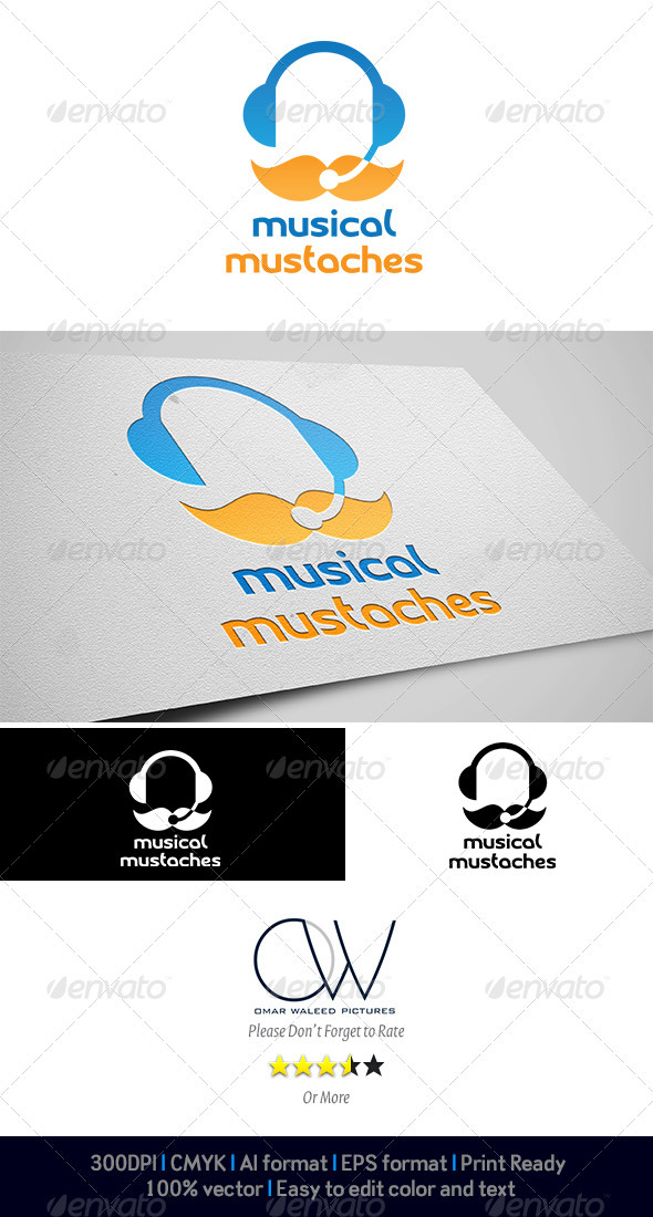 Mustaches Musical Logo - Logo Templates