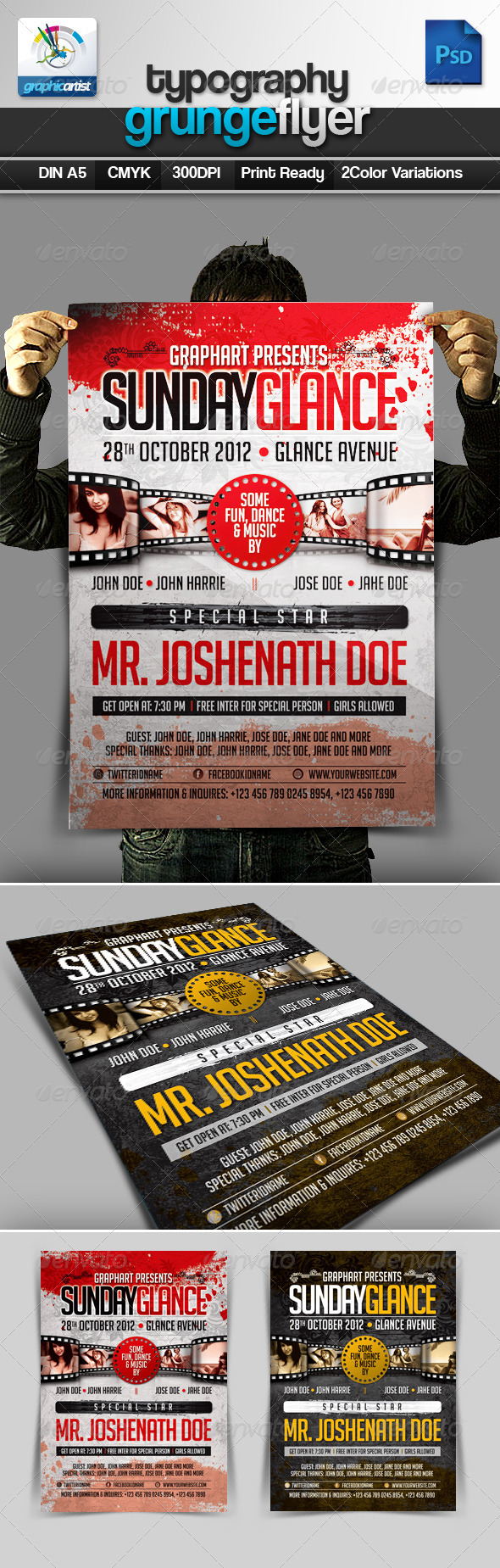 GraphicRiver Typography Grunge Flyer 3011885