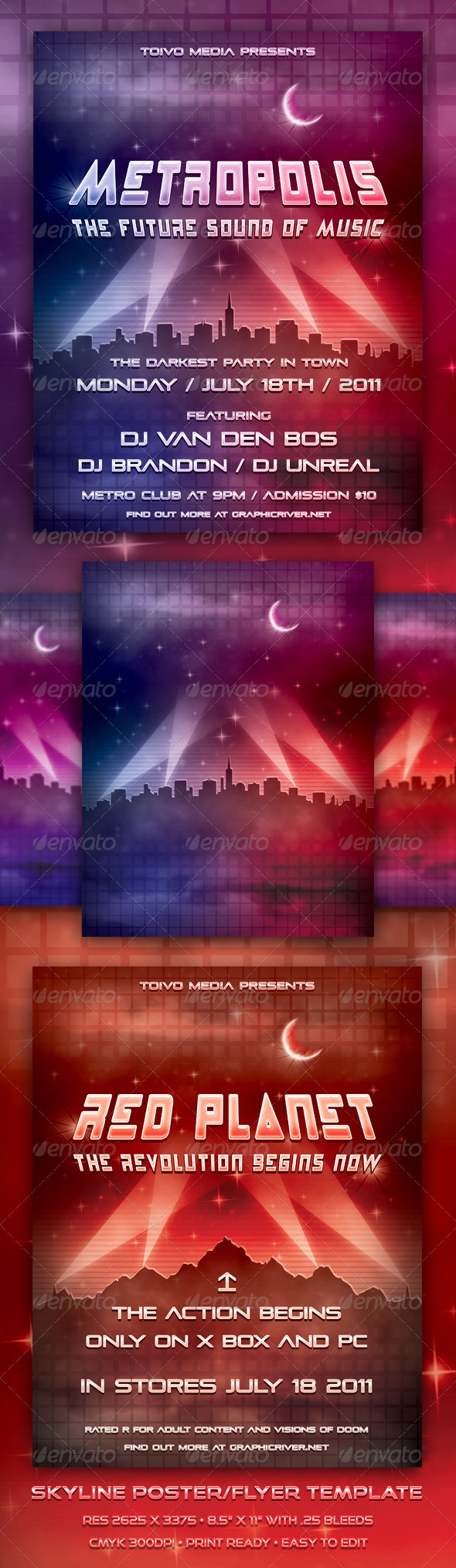 Skyline Poster/Flyer Template - Clubs & Parties Events