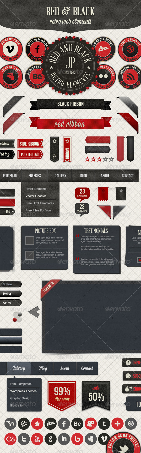 GraphicRiver Retro Web Elements Red & Black Pack 3013304