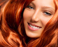Hair. Beautiful Girl With Healthy Long Red Curly Hair - PhotoDune Item for Sale