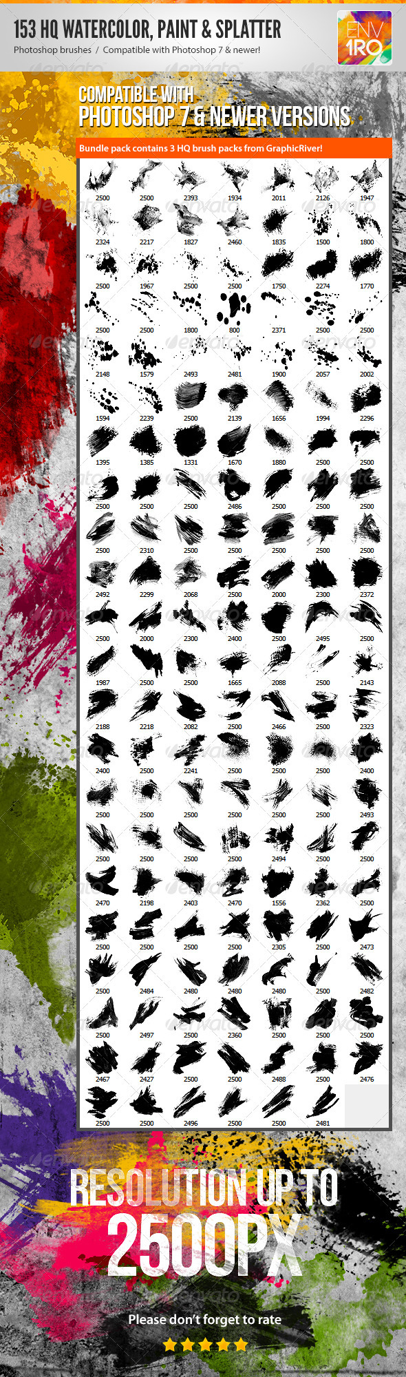 153 Watercolor Paint & Splatter Photoshop Brushes - Artistic Brushes