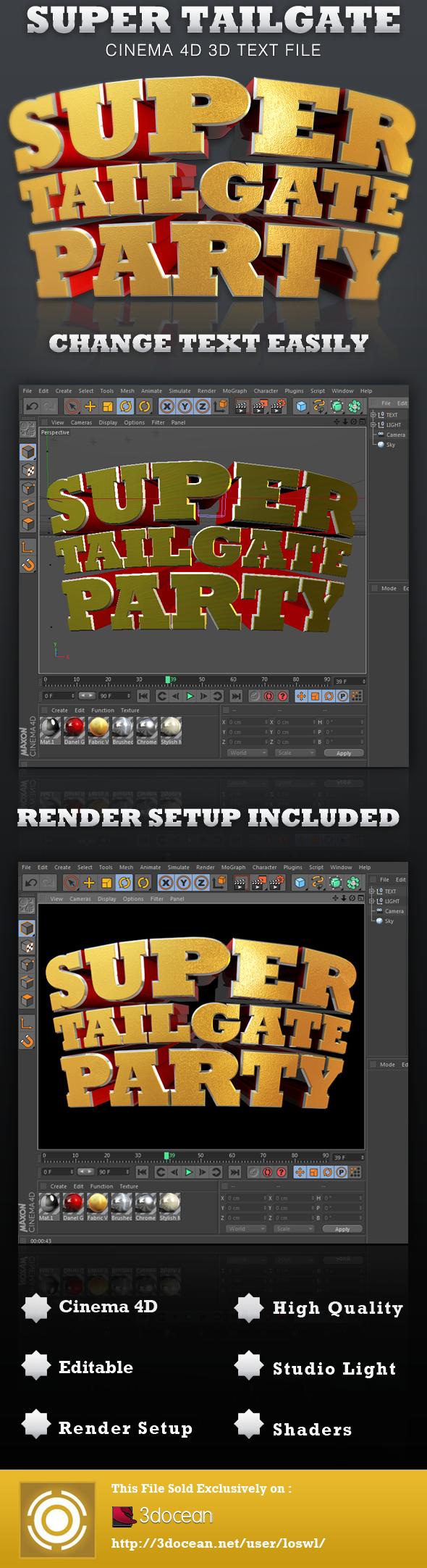 Super Tailgate Cinema 4D 3D Text File